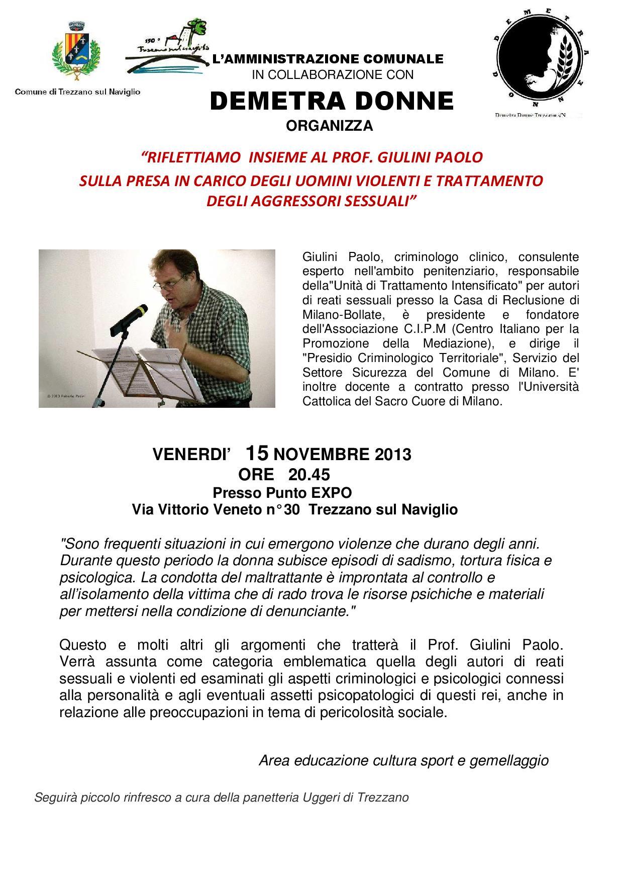 Demetra Donne incontra il criminologo clinico Paolo Giulini