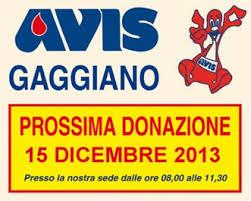 Avis Gaggiano, invito all'ultima donazione del 2013