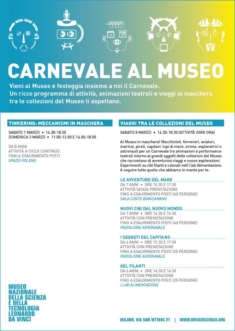 Museo della Scienza:  Carnevale al Museo e programma attività