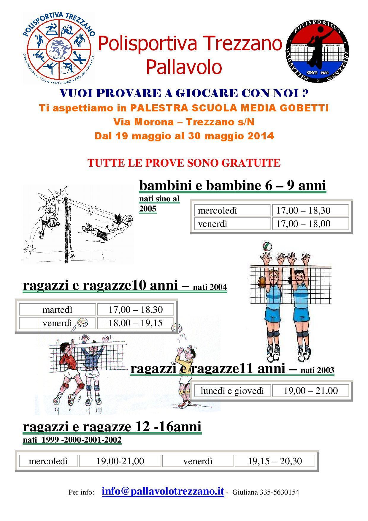 Polisportiva Trezzano Pallavolo, campus a Bibione, prova gratuita, orari